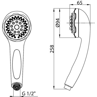 Shower Head Drawing cirrus 3-functional shower head |