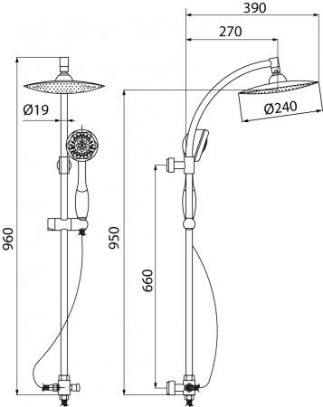 Ombrello Kolumna Prysznicowa 2 Funkcyjna