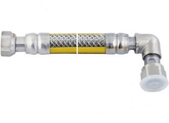 """V-GAS Przewód elastyczny do gazu V-GAS w osłonie PCV 1/2"""" ze złączką kolankową z obrotowymi nakrętkami"""