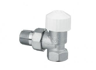 VECTOR Zawór termostatyczny kątowy ZT22 niklowany zruchomą przysłoną (znastawą wstępną)