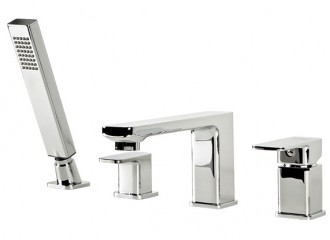 Four hole bath mixer with accessories