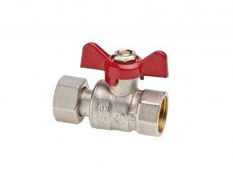 SPIN Straight cut-off valve with swivel nut and aluminium butterfly handle
