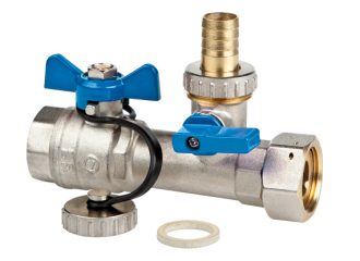 SPIN Straight cut-off valve with swivel nut and drain-cock, blue