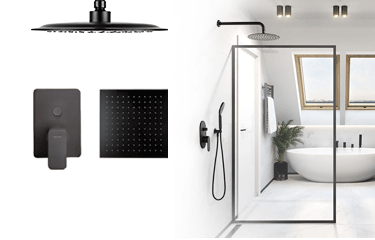 CARRÉ Black i DIONE Black – mocny akcent w Twojej łazience